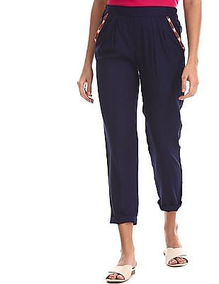 Bronz Blue Pleated Front Solid Pants