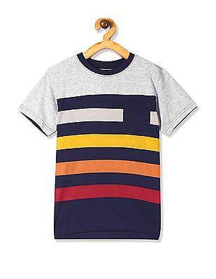 Cherokee Blue Boys Striped Cotton T-Shirt