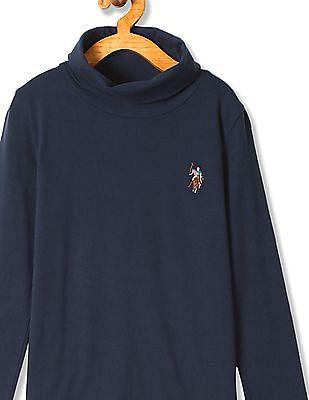 U.S. Polo Assn. Kids Girls Standard Fit Turtle Neck T-Shirt