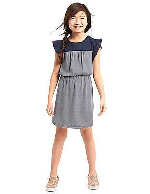 GAP Girls Blue Stripe Mix-Fabric Flutter Dress