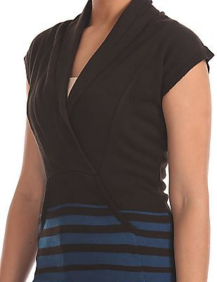 Flying Machine Women Extended Sleeve Striped Sweater