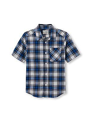 The Children's Place Boys Short Sleeve Plaid Madras Button-Down Shirt