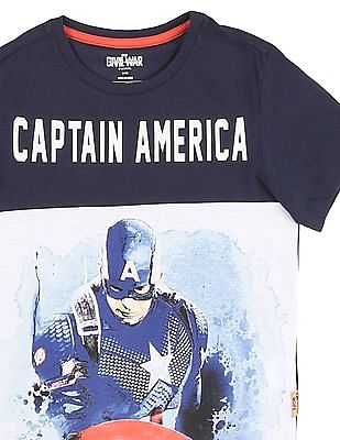 FM Boys Boys Crew Neck Captain America Printed T-Shirt