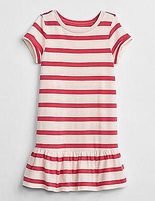 GAP Baby Pink Round Neck Striped Dress