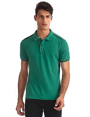 Arrow Sports Green Taped Pique Polo Shirt