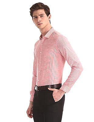 Excalibur Red Mitered Cuff Vertical Stripe Shirt