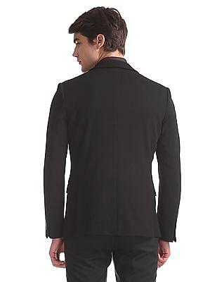 Arrow Newyork Black Textured Single Breasted Blazer