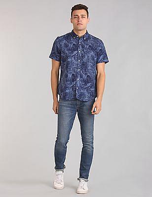 GAP Men Blue Standard Fit Short Sleeve Shirt In Linen-Cotton