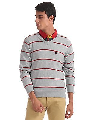 Izod V-Neck Striped Sweater