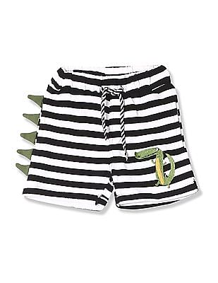 Donuts White And Black Boys Dinosaur Accent Striped Shorts