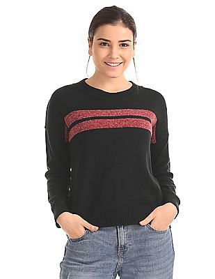 Flying Machine Women Striped Chest Sweater Top