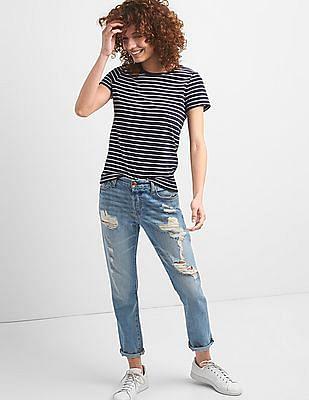 GAP Women Blue Short Sleeve Stripe Crew Neck T-Shirt