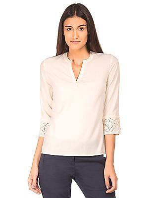 Arrow Woman Solid Mandarin Neck Top