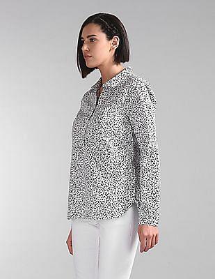 GAP Women White Floral Print Popover Shirt