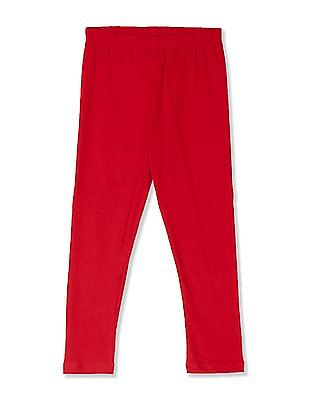Cherokee Red Girls Elasticized Waist Solid Leggings