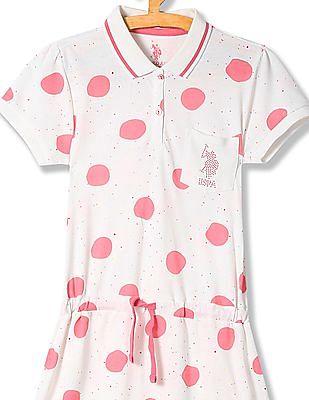 U.S. Polo Assn. Kids Girls Tie Up Waist Printed Polo Dress