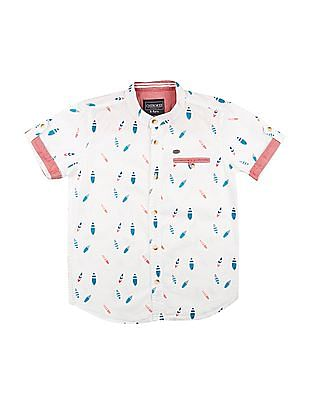 Cherokee Boys Mandarin Collar Printed Shirt