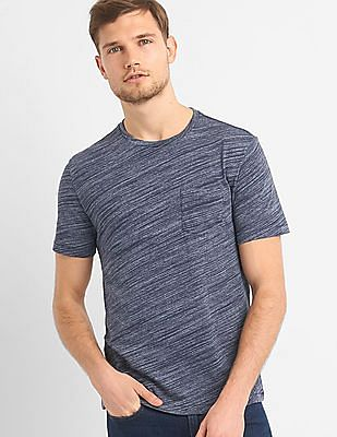 GAP Essential Short Sleeve Crewneck Pocket T-Shirt In Spacedye