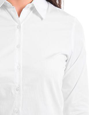 Arrow Woman Solid Cotton Lycra Shirt