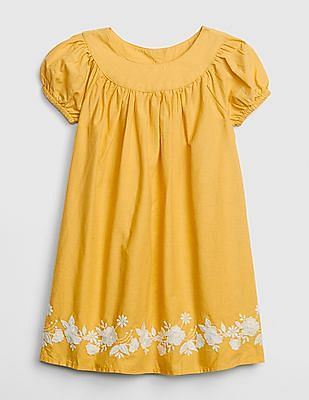 GAP Baby Embroidered Puff Sleeve Dress