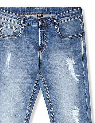 FM Boys Blue Boys Slim Fit Stone Wash Jeans