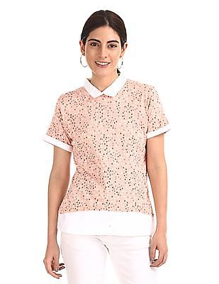 Elle Studio Stylized Collar Printed Top