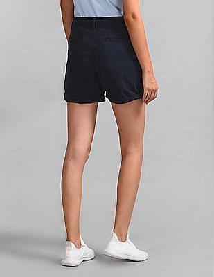 GAP Women Blue Mid Rise Girlfriend Chino Shorts