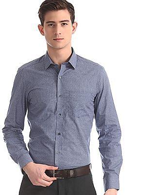Arrow Blue French Placket Printed Shirt