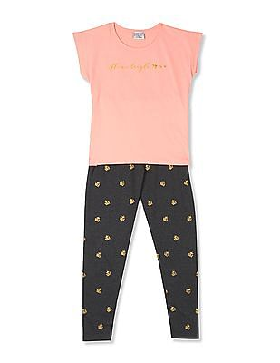 Cherokee Girls T-Shirt And Leggings Set