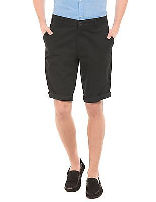 Flying Machine Solid Cotton Shorts