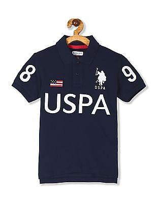 U.S. Polo Assn. Kids Blue Boys Brand Embroidered Pique Polo Shirt
