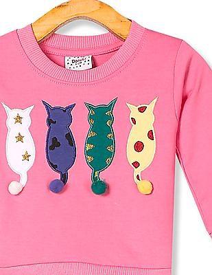 Donuts Pink Girls Crew Neck Appliqued Sweatshirt