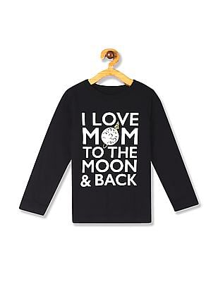 The Children's Place Black Toddler Boy Long Sleeve 'I Love Mom' Moon Graphic Tee