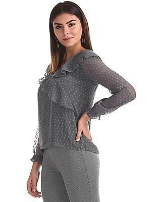 Elle Studio Grey Textured Ruffle Top