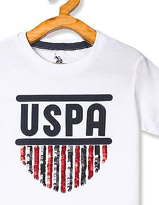 U.S. Polo Assn. Kids Boys Crew Neck Embellished T-Shirt