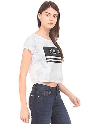 Flying Machine Women Printed Front Boxy T-Shirt