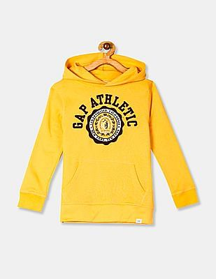 GAP Yellow Boys Brand HD Graphic Hooded Sweatshirt