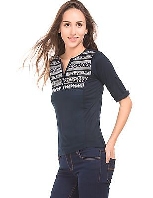 Bronz Embroidered Knitted Top
