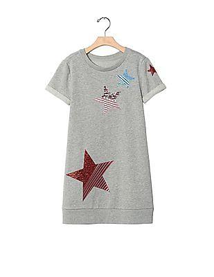 GAP Girls Grey Star Patch Sweatshirt Dress