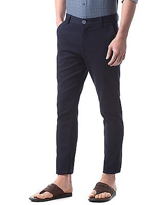 True Blue Slim Fit Textured Trousers