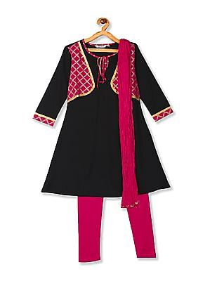 Karigari Assorted Girls Churidar Kurta And Dupatta Set