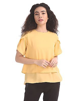 Elle Studio Yellow Tulip Sleeve Boxy Top
