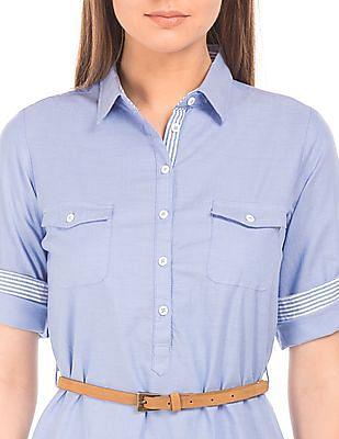 U.S. Polo Assn. Women Solid Belted Shirt Dress