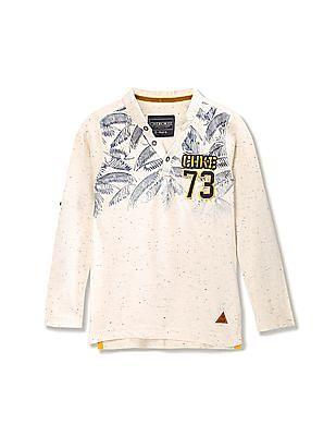 Cherokee Boys Printed Heathered Henley T-Shirt