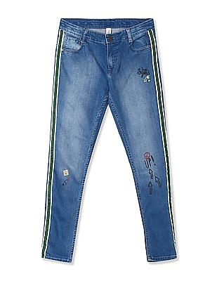 Cherokee Blue Girls Printed Accent Slim Fit Jeans