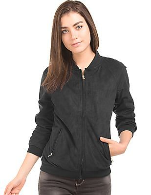 U.S. Polo Assn. Women Suedette Regular Fit Bomber Jacket