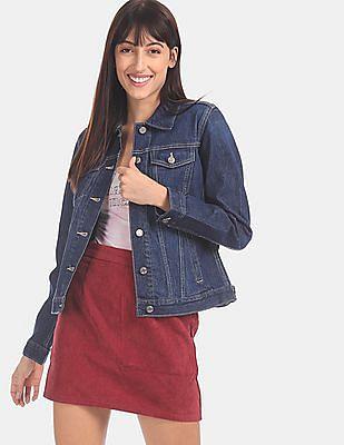 GAP Women Blue Dark Wash Icon Denim Jacket