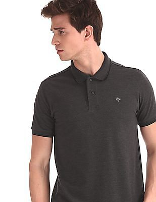 Ruggers Grey Heathered Vented Hem Polo Shirt