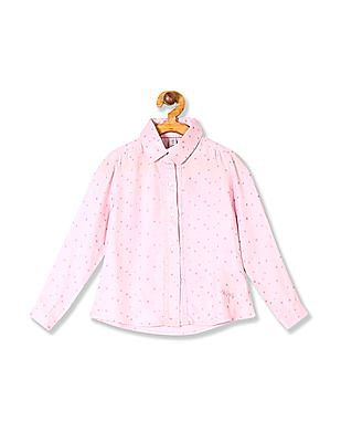 U.S. Polo Assn. Kids Girls Long Sleeve Star Print Shirt