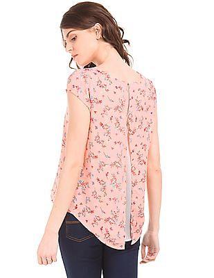 SUGR Split Back Floral Print Top